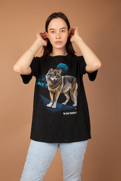 vintage black tee with epic detailed wolf graphic on front