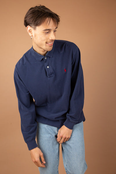 navy ralph lauren polo with red embroidered emblem on left chest - magichollow