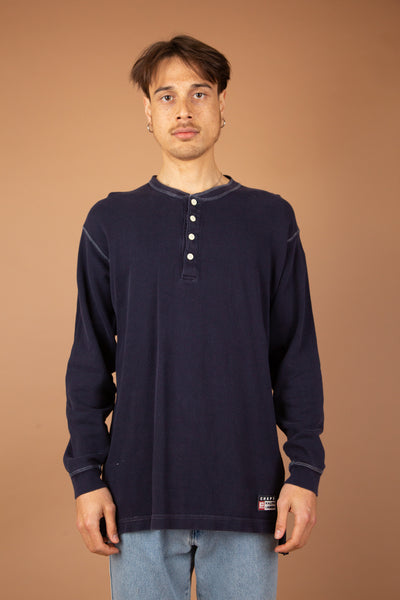 navy ribbed longsleeve with button closure and chaps rubber patch on lower left - magichollow