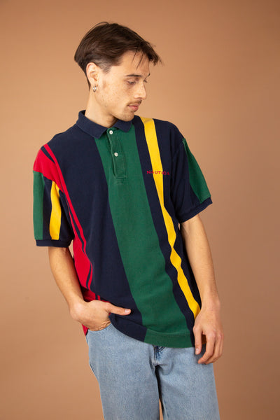 multicoloured striped nautica polo with embroidered text