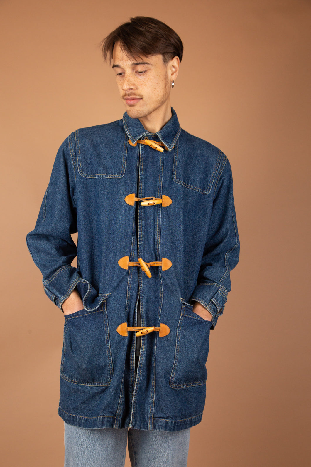 dark wash vintage denim trench with toggle closure - magichollow