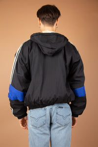 thick black adidas jacket with iconic 3 stripe detail down sleeves and embroidered logo