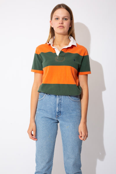orange and green ralph lauren short-sleeved rugby