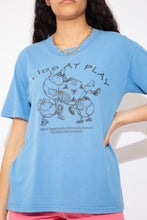 Load image into Gallery viewer, blue tee with black graphics on the front and the back. Single stitch vintage tee - magichollow