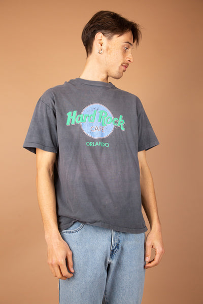faded and distressed vintage hard rock tee