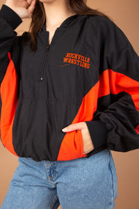 model wearing wrestling jacket, magichollow