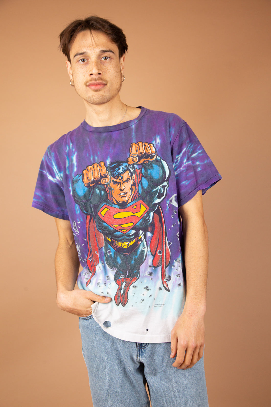 epic tie-dye vintage tee with large superman graphic on front