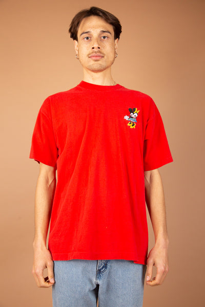 vibrant red single-stitch tee with embroidered minnie graphic on left chest