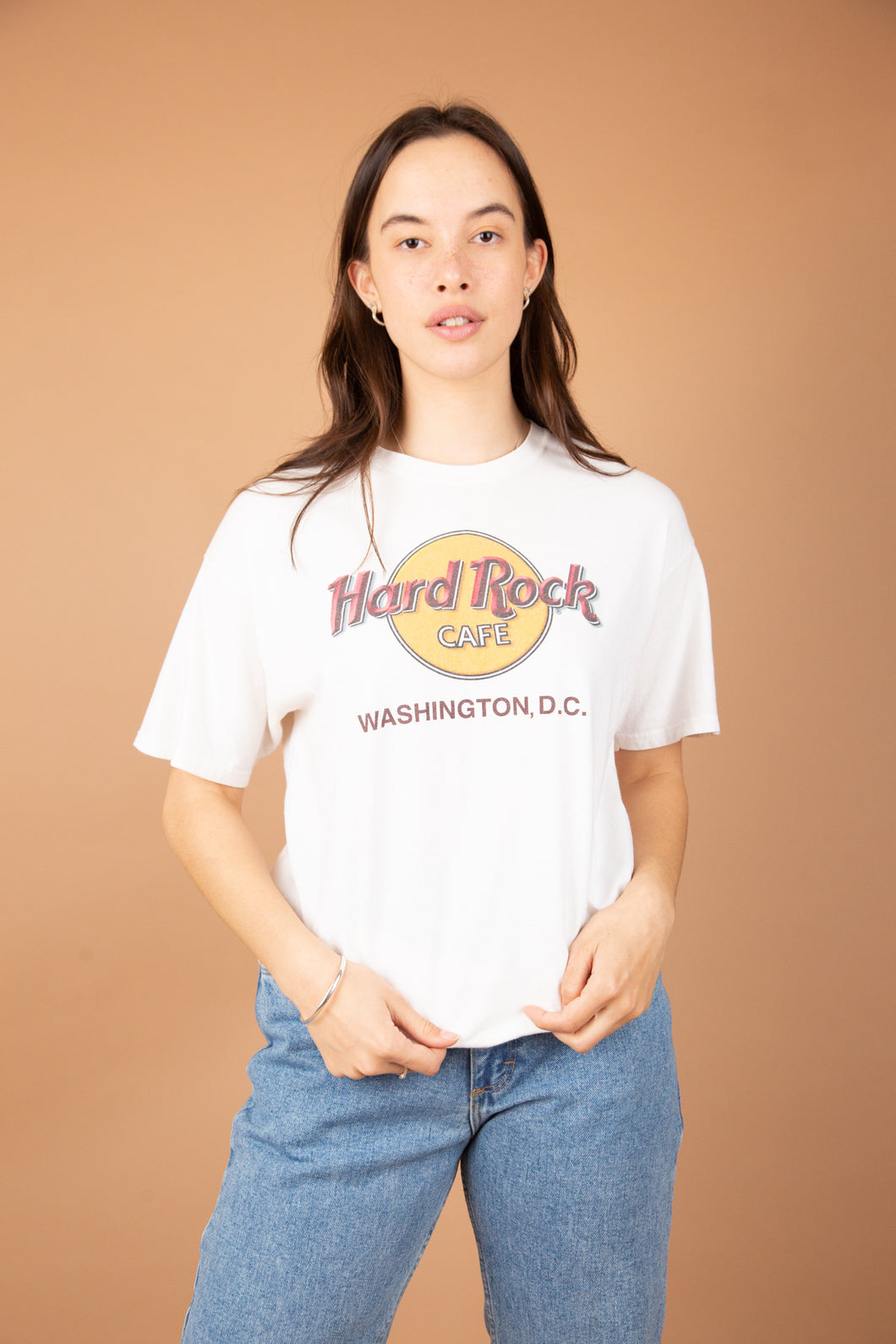 Model wearing Hard Rock Tee, magichollow