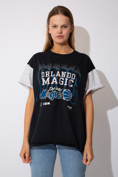 black tee with grey marle sleeves and orlando magic graphic and embroidered spell-out detailing on front
