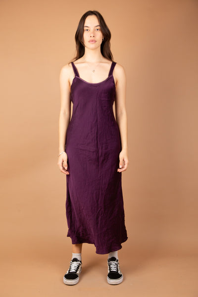 luscious purple silk dress with side slit