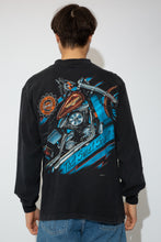 Load image into Gallery viewer, A black long-sleeved tee with a motorcycle print on the left pocket and dated 1996. On the back, a large print of a motorcycle, the Harley Davidson logo and 'that sweet sound' printed below.
