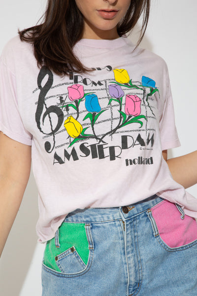 model wearing Amsterdam tulips tee, magichollow