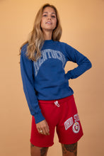 "Load image into Gallery viewer, blue sweater with ""Kentucky"" written over the front in white"