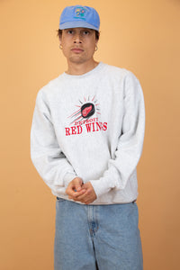 Grey, thick, reverse-weave sweater with a red appliqué spell-out of Detroit Red Wings and the logo embroidered above.