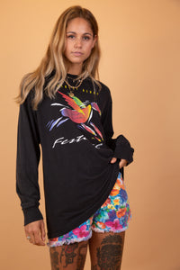 black longsleeve with graphic of a pegasus on the front