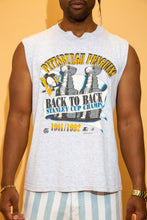 Load image into Gallery viewer, Grey in colour in a singlet style, this tee has a large yellow 'Pittsburgh Penguins' spell-out across the top with a print of 2 Stanley Cups behind a banner reading 'Back to Back Stanley Cups.' Dated 1992.