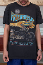 Load image into Gallery viewer, distressed faded black tee with front motorcycle and back logo harley davidson graphics