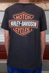 distressed faded black tee with front motorcycle and back logo harley davidson graphics
