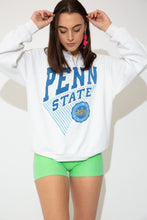 Load image into Gallery viewer, This white sweater has a blue and white print of 'Penn State' on the front with the logo below. A v-cutout on the neckline and baggy fit adds to the vintage style.