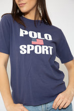 Load image into Gallery viewer, model wearing navy printed tee, magichollow