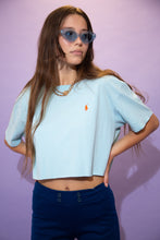 Load image into Gallery viewer, Baby blue in colour, this tee has an orange embroidered Ralph Lauren logo on the left chest. Cropped to keep it cute.