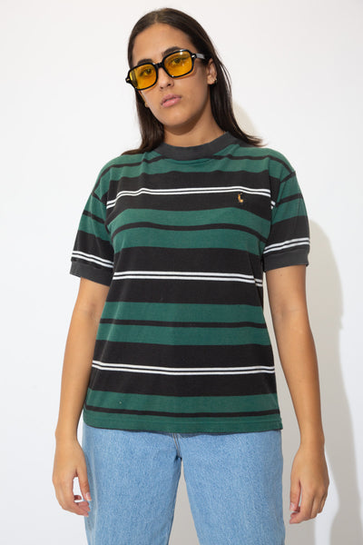 Horizontally striped in green, black and white, this crew neck style tee has a yellow embroidered Ralph Lauren logo on the left chest.
