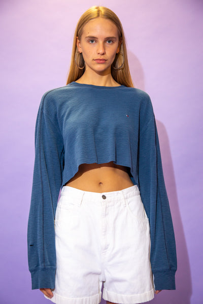 the model wears a cropped tommy long sleeve