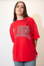 Load image into Gallery viewer, Red Tee with a grey double collar and grey foldable sleeves. 'St Johns' is printed across the front in black and white.