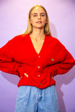Load image into Gallery viewer, the model wears an oversized red lacoste cardigan