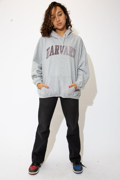 the model wears a grey sweater with a harvard spell out