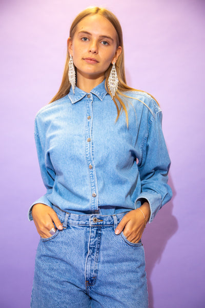 the model wears a gap denim shirt