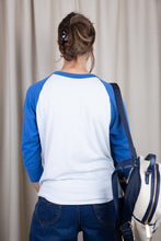 Load image into Gallery viewer, the model wears a blue and white raglan tee