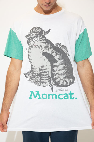 White in colour with contrast green sleeves, this tall single stitch tee has a print of a momcat on the front with her babies crawling on her. 'Momcat' is printed below.
