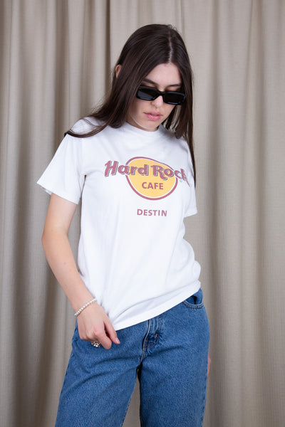 White tee with a large red and yellow 'Hard Rock Cafe' logo across the front, repping Destin below.