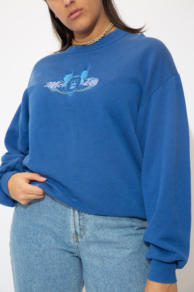 the model wears a blue sweater with a mickey spell out