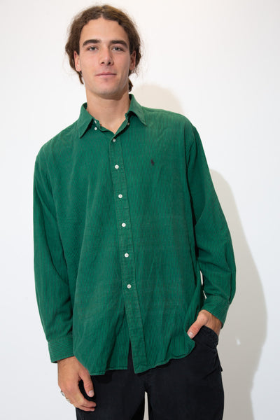 Dark green button-up vertically striped in black with a black embroidered Ralph Lauren logo on the left chest.