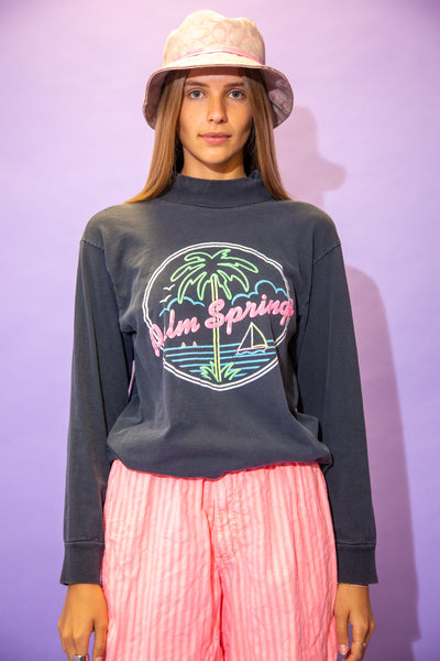 the model wears a grey long sleeve with a palm springs graphic on the front