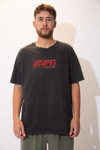 Black single stitch tee with a red ESPN Radio Network logo on the front.