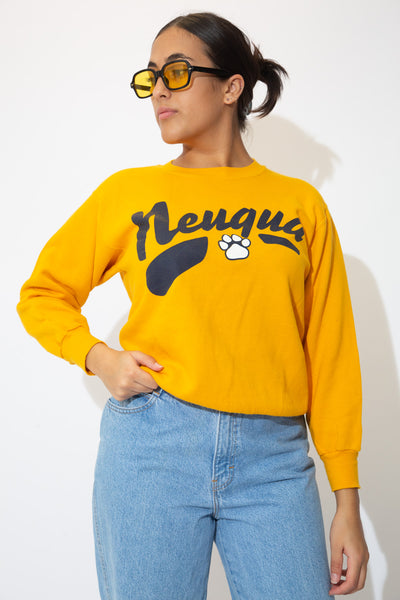 Yellow in colour, this jumper has a navy blue 'Neuqua' spell-out across the front with a paw print below.