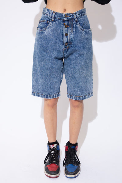 Mid-wash blue denim shorts in a midi-length fit with brown stitching, an all-over fade and Rio branding on the buttons.