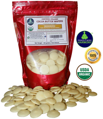 Certified Organic Raw Cocoa Butter - Deodorized Wafer Chips 16 oz bag