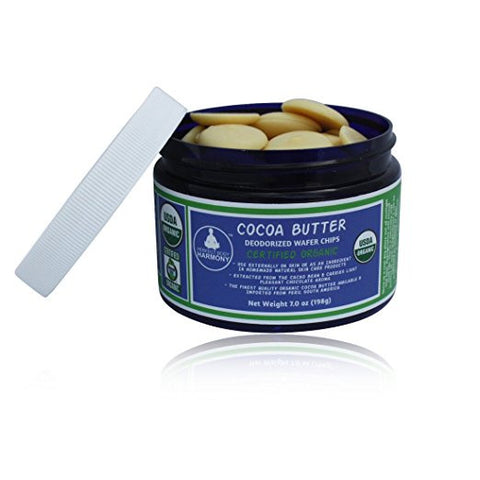 Certified Organic Raw Cocoa Butter - Deodorized Wafer Chips in jar