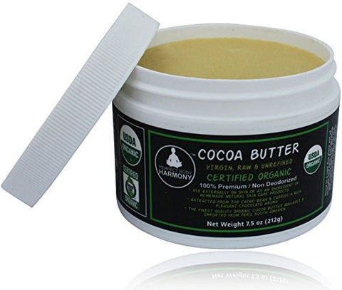 Certified Organic Virgin Natural Raw COCOA BUTTER - Non Deodorized in JARS