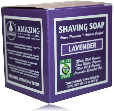 Organic Shaving Soap - Lavender Scent - perfect body harmony - 2 pack