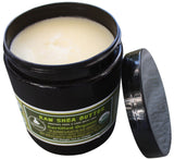 17.5 oz Jar of Certified Organic Shea Butter- With Jar Opened To Show Smooth Shea Butter