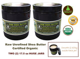 2X PACK - 17.5 oz BPA Free Amber Jars- Raw Unrefined Shea Butter Low Profile Jar- Smooth & Silky from Perfect Body Harmony Brand