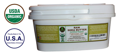 Certified Organic Raw Unrefined African Shea Nut Butter;  7 LB Bulk Tub for Skincare