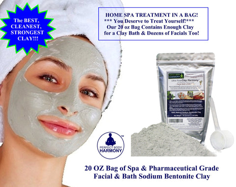 """SODIUM"" Bentonite Clay 20 OZ Bag (80+ Facials) Ultra Pure Clay Harmony™ - PREMIUM 100% Natural PHARMACEUTICAL GRADE"