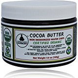 Certified Organic Raw Cocoa Butter - Non Deodorized Wafer Chip in jar